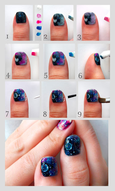 teen diy galaxy nails tutorial
