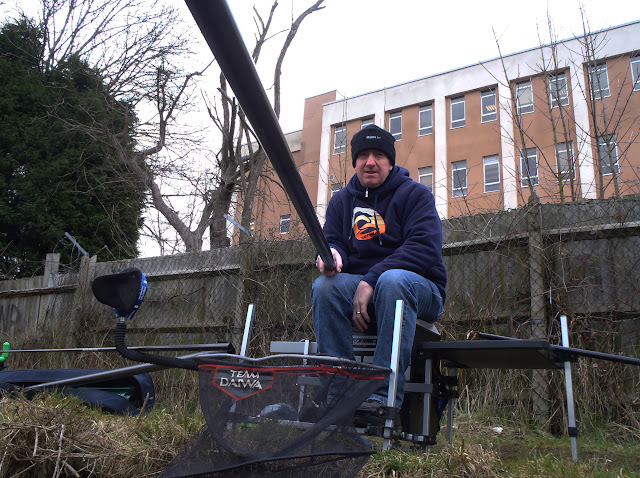Norman fishing the pole on the Coventry Canal