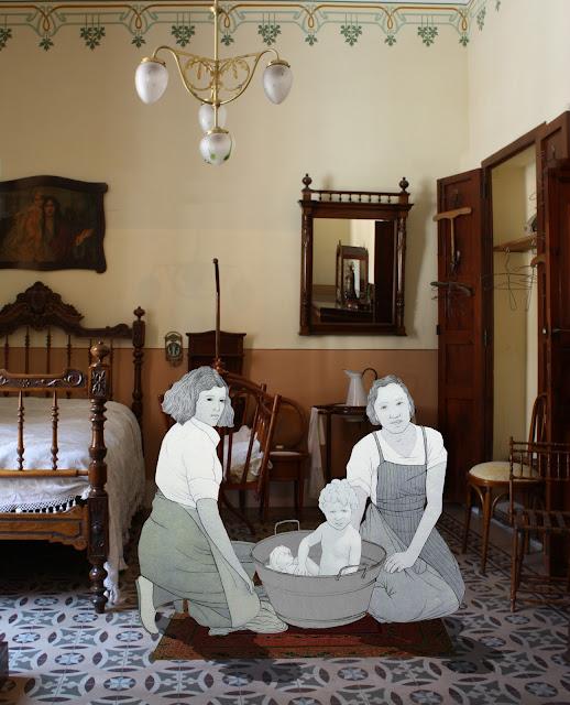 Habitacion, baño, niño, burguesia, huerta, museo, Torrente, dibujo