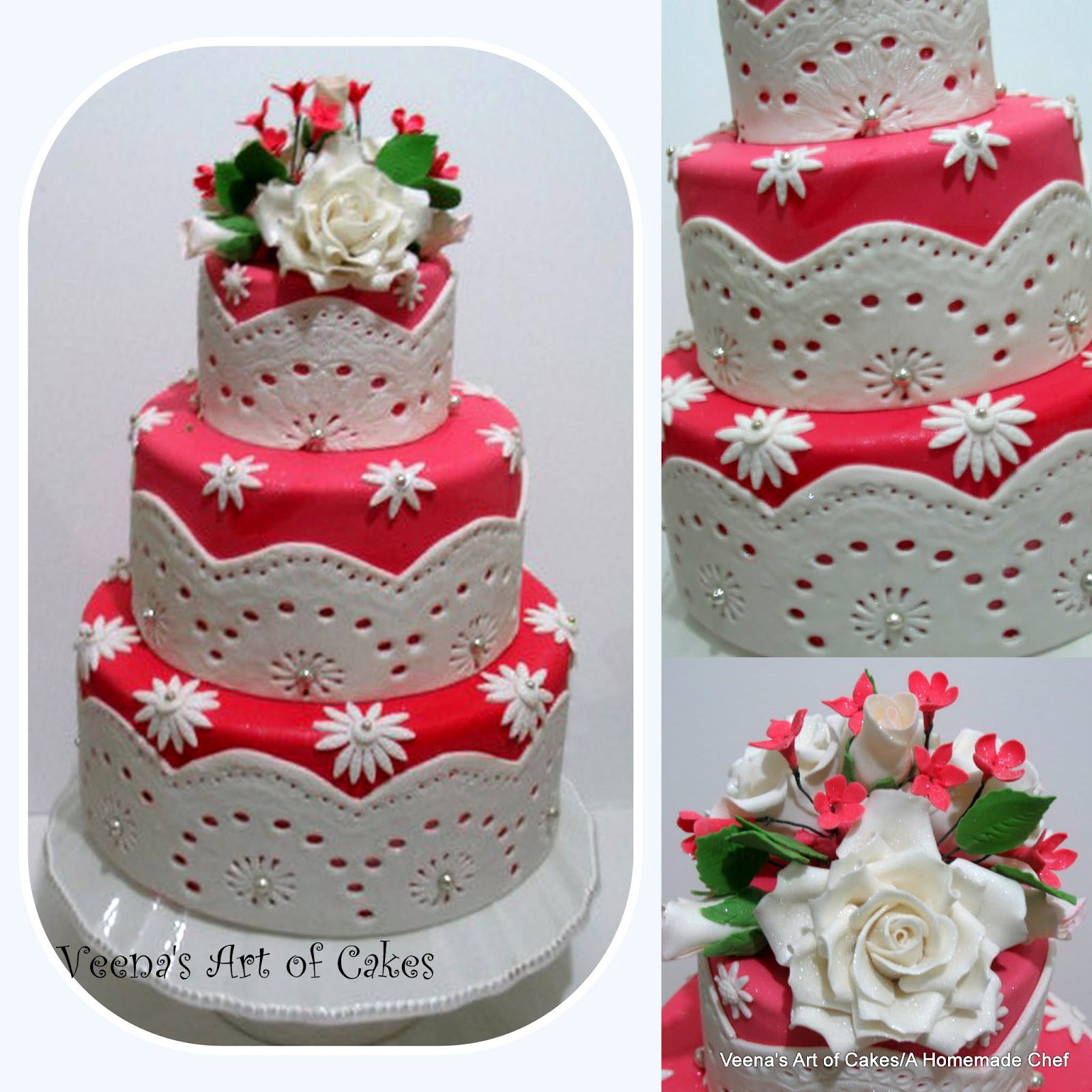 Red and White Lace Wedding Cake Veena Azmanov