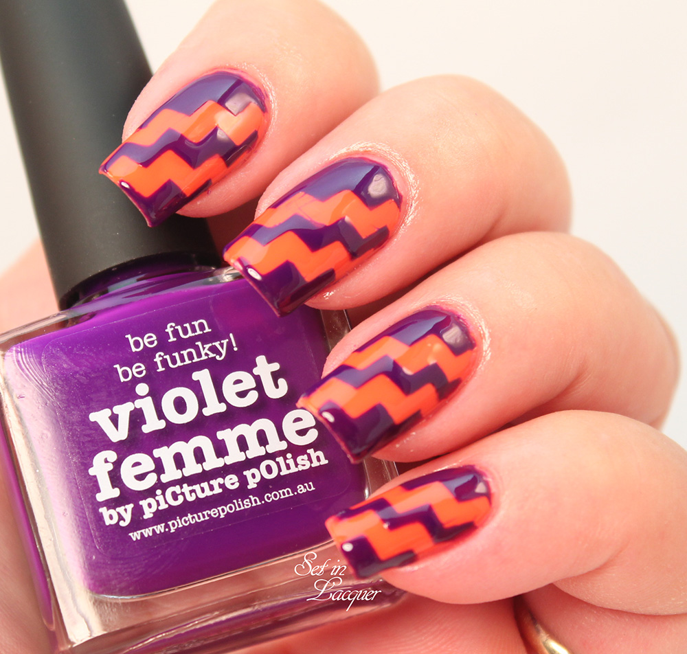 piCture pOlish Violet Femme and Sunset with Nail Vinyls