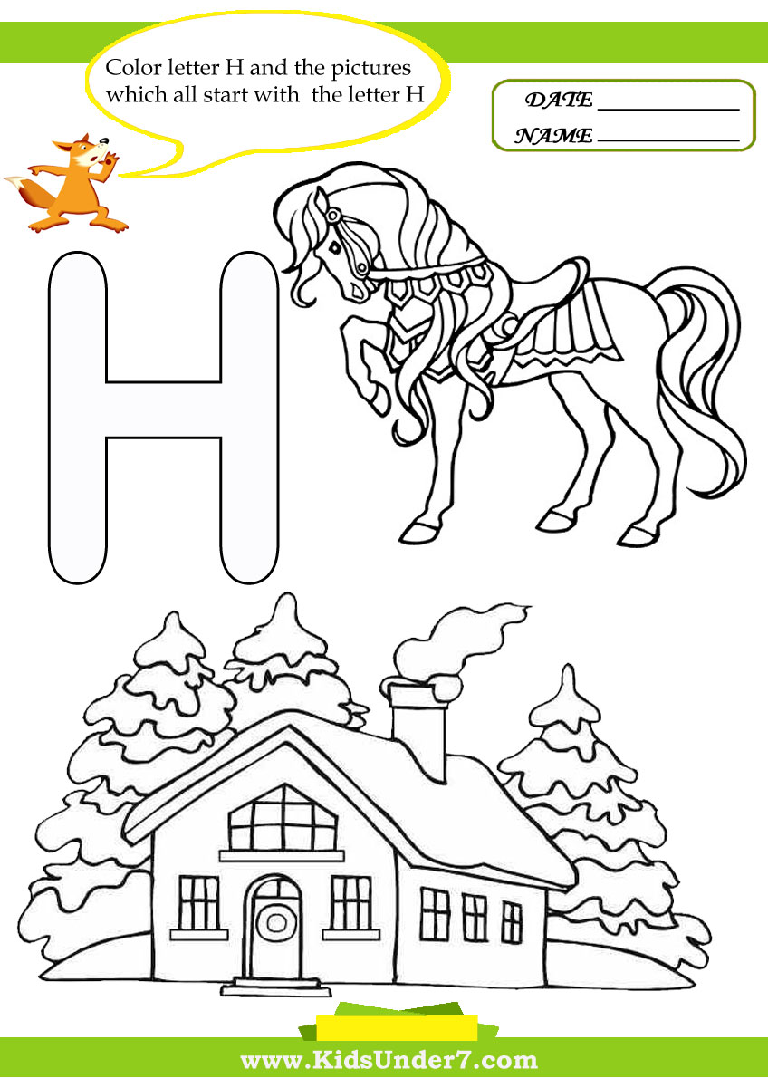 letter h worksheets and coloring pages