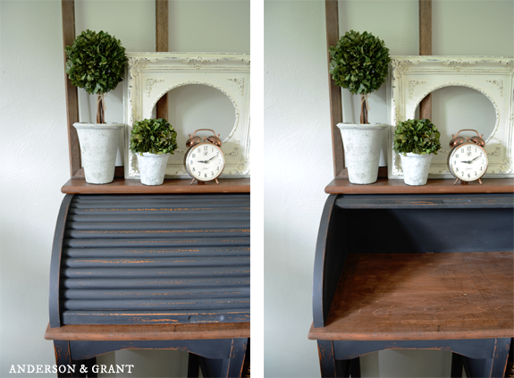 Comparison of Refurbished Desk with Rolltop Opened and Closed | www.andersonandgrant.com