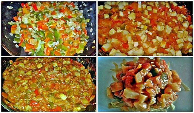 Preparación del pisto de verduras