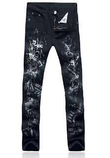 SLIM FIT DARK BLUE COTTON MATERIAL ARTISTIC JEANS 073NYBP3ZRDJ
