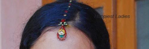 colourful stone studded Maang Tikka: Indian Jewellery