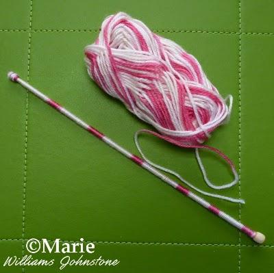 Pink color change yarn to make yarn wrapped wand