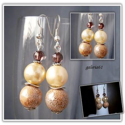 Kolczyki jasny brąz, z perły i porcelany i szkła, cappuccino