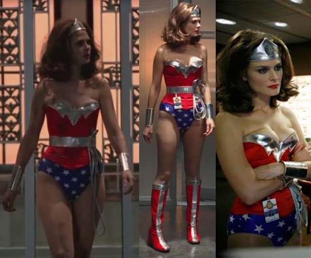 Image of Emily Deschanel in Wonder Woman costume for Bones episode.