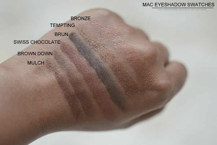 MAC Eyeshadow swatches darker Indian skin tone nc45 must have best neutral makeup beauty blog mulch brown down swiss chocolate brun tempting bronze