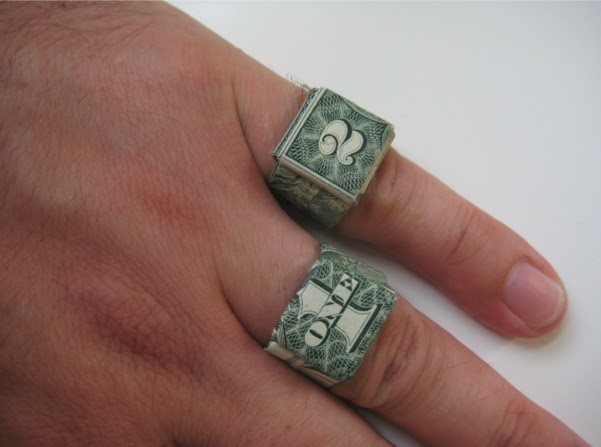 money origami heart ring