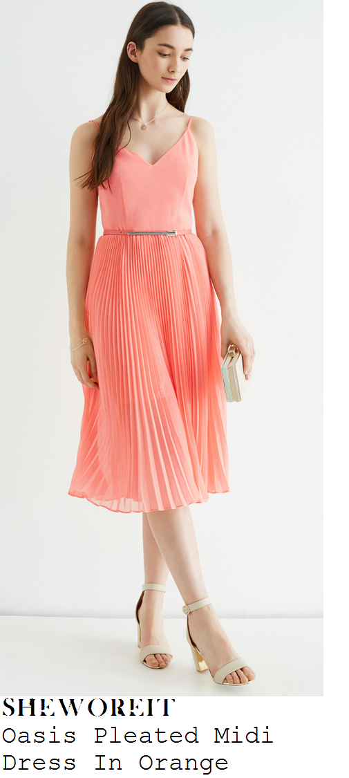 jasmin-walia-peach-orange-sleeveless-v-neck-pleated-midi-dress