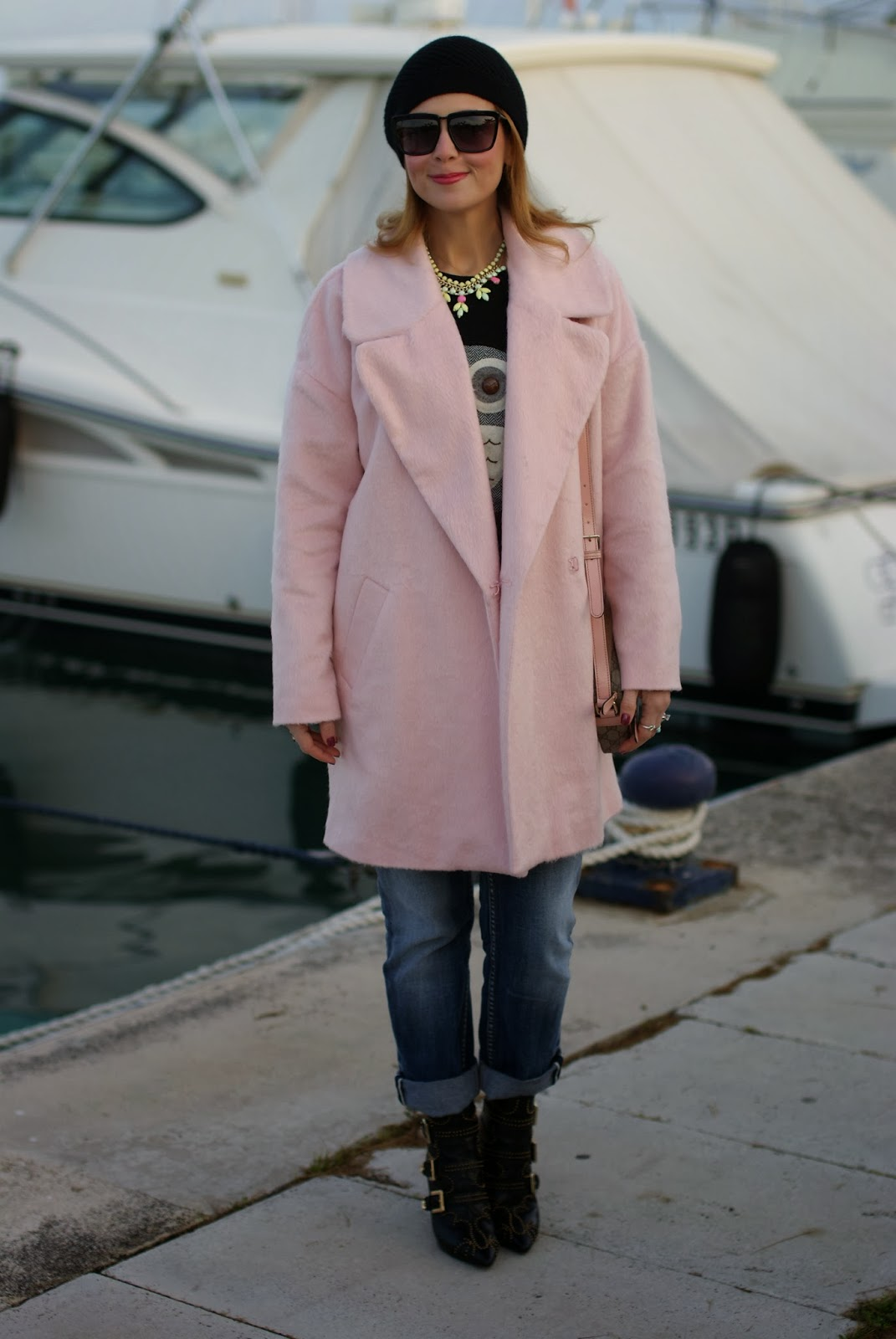 oversized pink coat, river island pink coat, gucci pink bag, owl sweater, fashion and cookies, fashion blogger