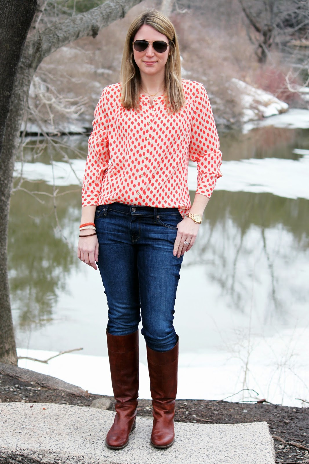 """Printed Blouse + Skinny Jeans + Kate Spade """"Mrs"""" Necklace // The Salty Hanger"""