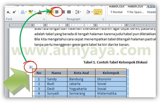 Gambar: Cara membuat tabel ditengah-tengah halaman di microsoft word