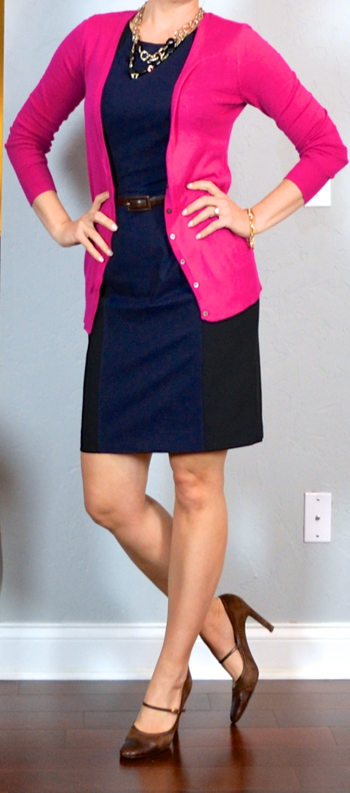 Outfit post pink cardigan colorblocked sheath dress brown mary janes | Outfit Posts