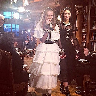 Cara Delevingne and Kendall at the Chanel show in Salzburg