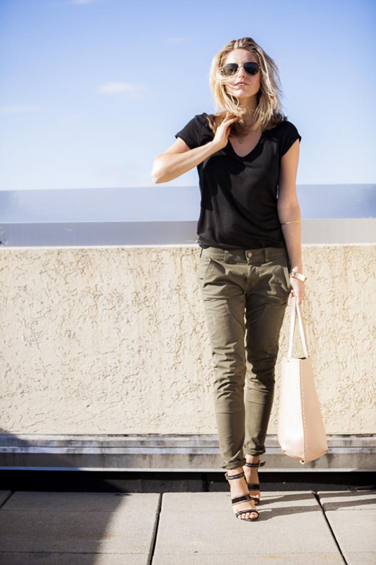 Full Look Rich & Skinny H&M Linen tee Zara bag JAson Wu Gold Jewelry