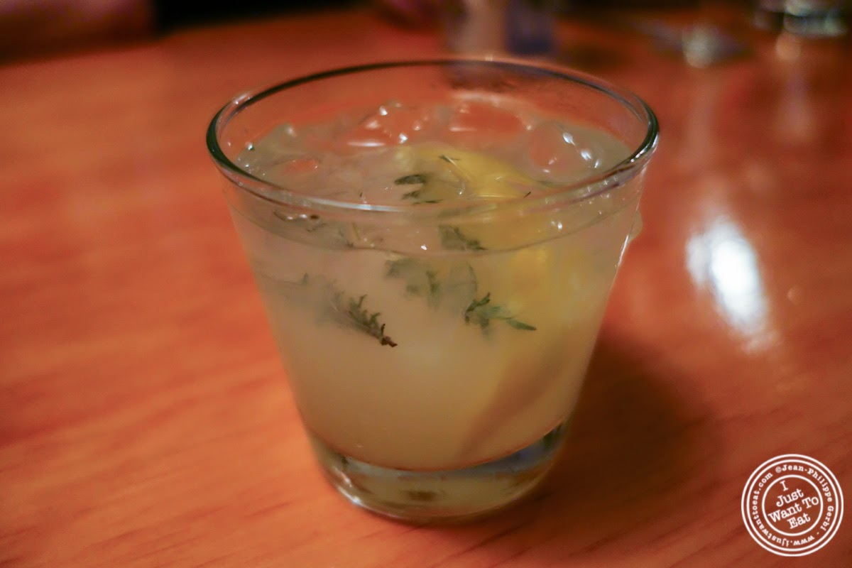 image of Thyme and Ginger cocktail at Left Bank in the West Village, NYC, New York
