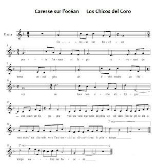 Partitura de Caresse sur Lócéan de los Chicos del Coro. Music Sheets Partitura de Flauta