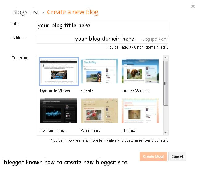 how to create new blogger site