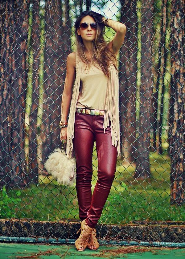 marsala look boho pantalones cuero