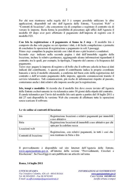 Lpd agenzia delle entrate registrazione dei contratti d for Registrazione contratto affitto cedolare secca