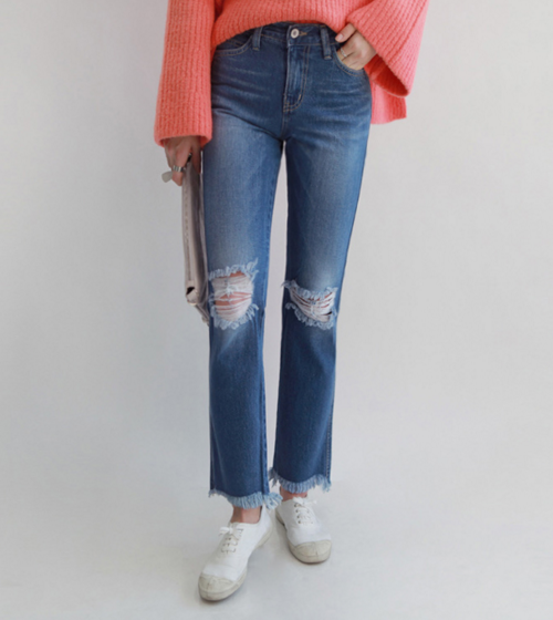 Ripped Knee Straight-Cut Jeans