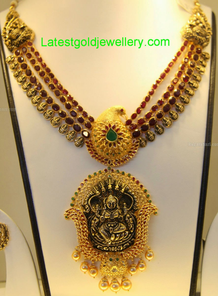 Antique Ruby Necklace with Nakshi Pendant | Latest Gold Jewellery ...