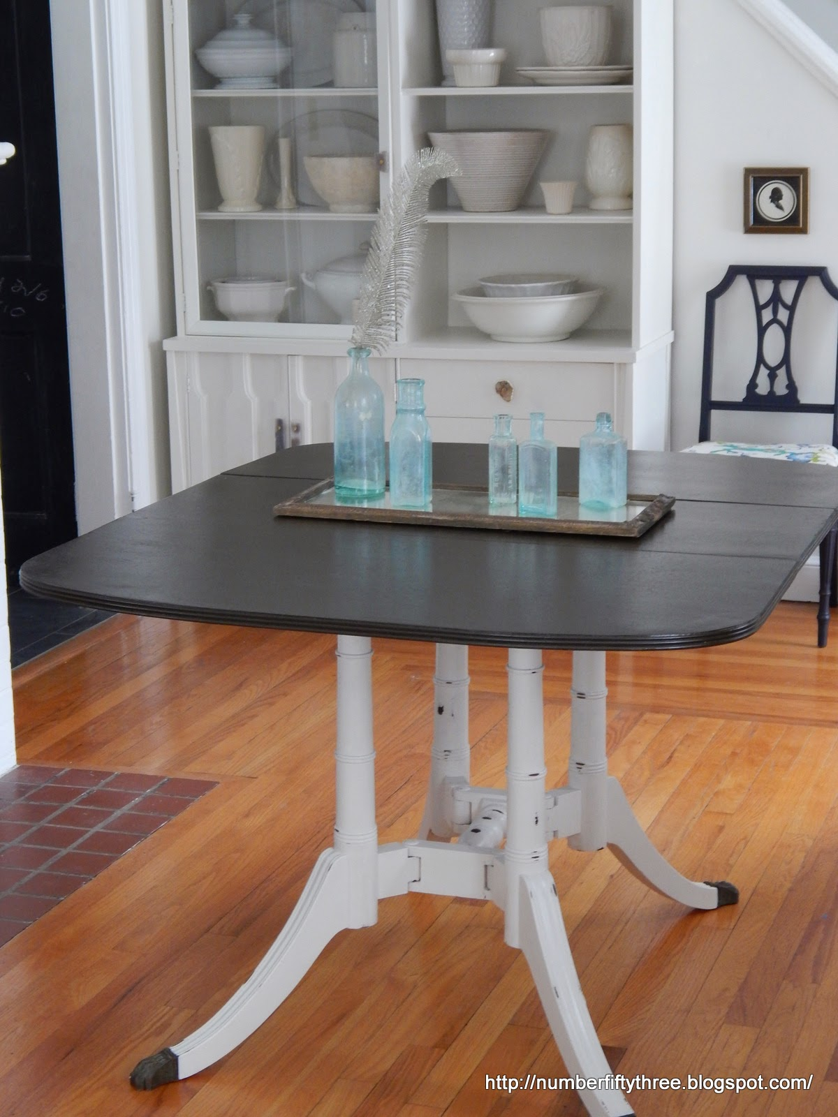 Number Fifty Three Two Toned Vintage Drop Leaf Table