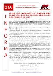 SOBRE UNA ASAMBLEA DE TRABAJADORES CONVOCADA POR UNA SECCIÓN SINDICAL EL 8 DE FEBRERO DE 2019