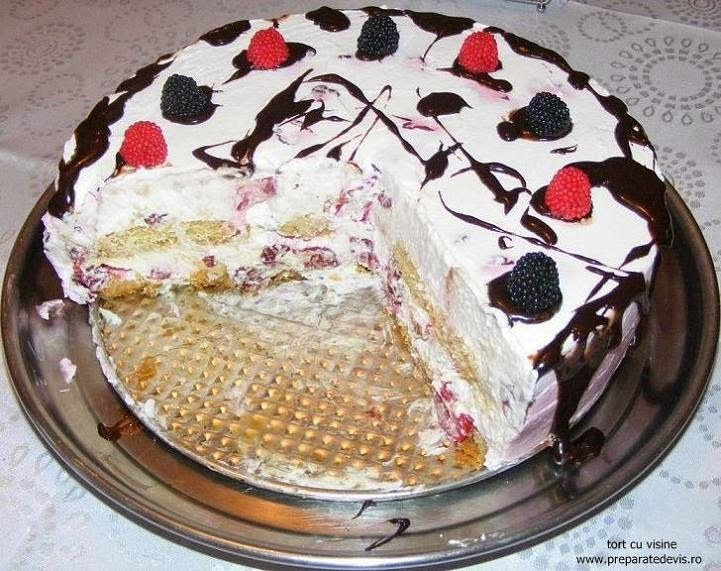 tort cu visine, dulciuri, torturi, deserturi, tort, tort cu fructe, tort cu piscoturi, torturi cu visine, tort de visine, retete culinare, preparate culinare, tort cu visine si piscoturi, prajituri, prajitura cu visine, retete cu visine, retete tort, reteta tort,