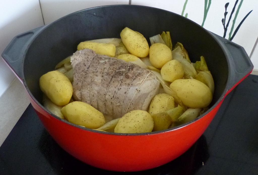 Je m 39 clate avec mes 10 doigts r ti de porc aux endives - Cuisiner roti de porc ...