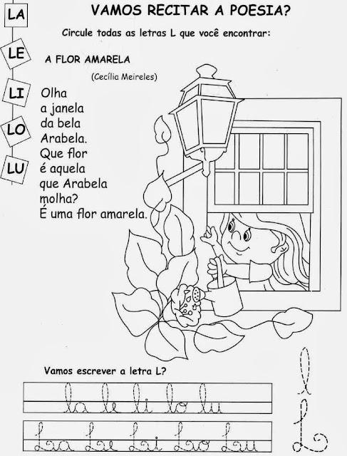 Atividades com a letra L.Ensino Fundamental, Atividades para imprimir, Alfabetização, Letras, 1º ano.
