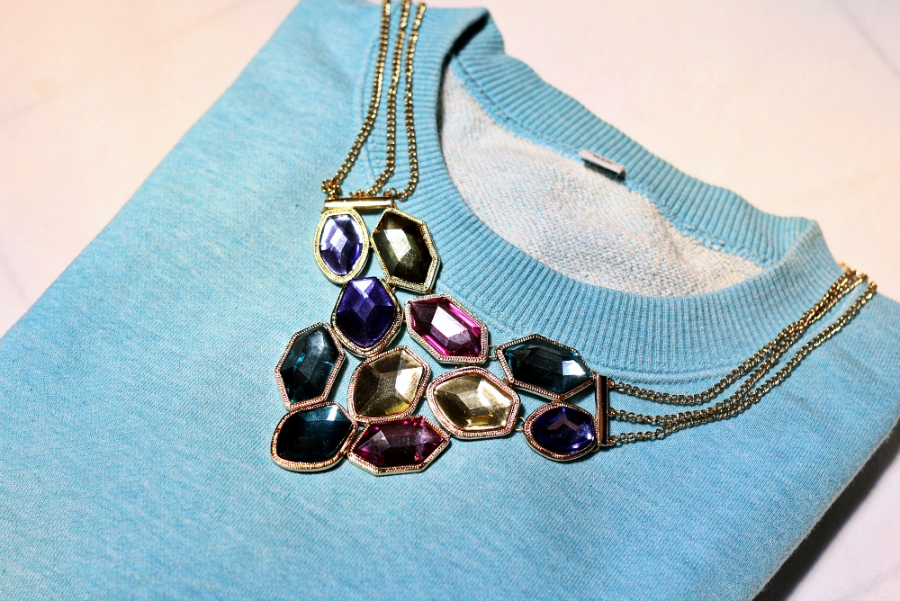 UNIQLO SWEATER &amp; STATEMENT NECKLACE IN DELUXSHIONIST DETAIL