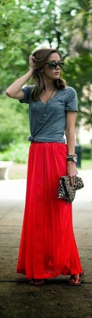 Shirt with beautiful red color skirt
