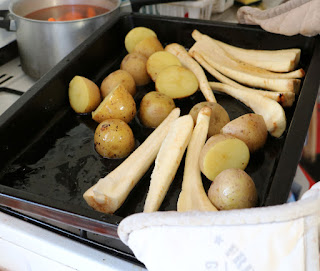Tatties and sprouts in to roast