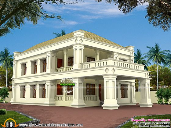 Square pillar type Colonial mix home