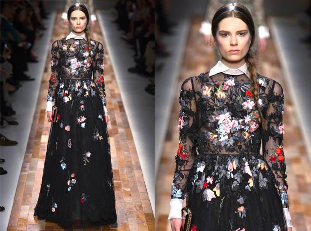EVA RICCOBONO NO VALENTINO-outono inverno 2013-vestido floral-florido-de gala-vestido com gola peter pan-tapete vermelho-festival de veneza-passarela-runway