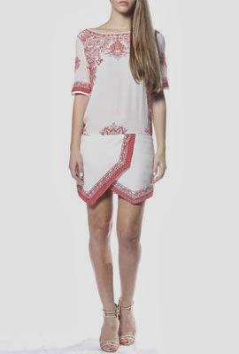 Colcci Verão 2014 Conjunto saia e blusa com estampa scarf print