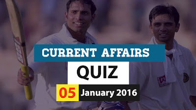 Current Affairs Quiz 5 January 2016