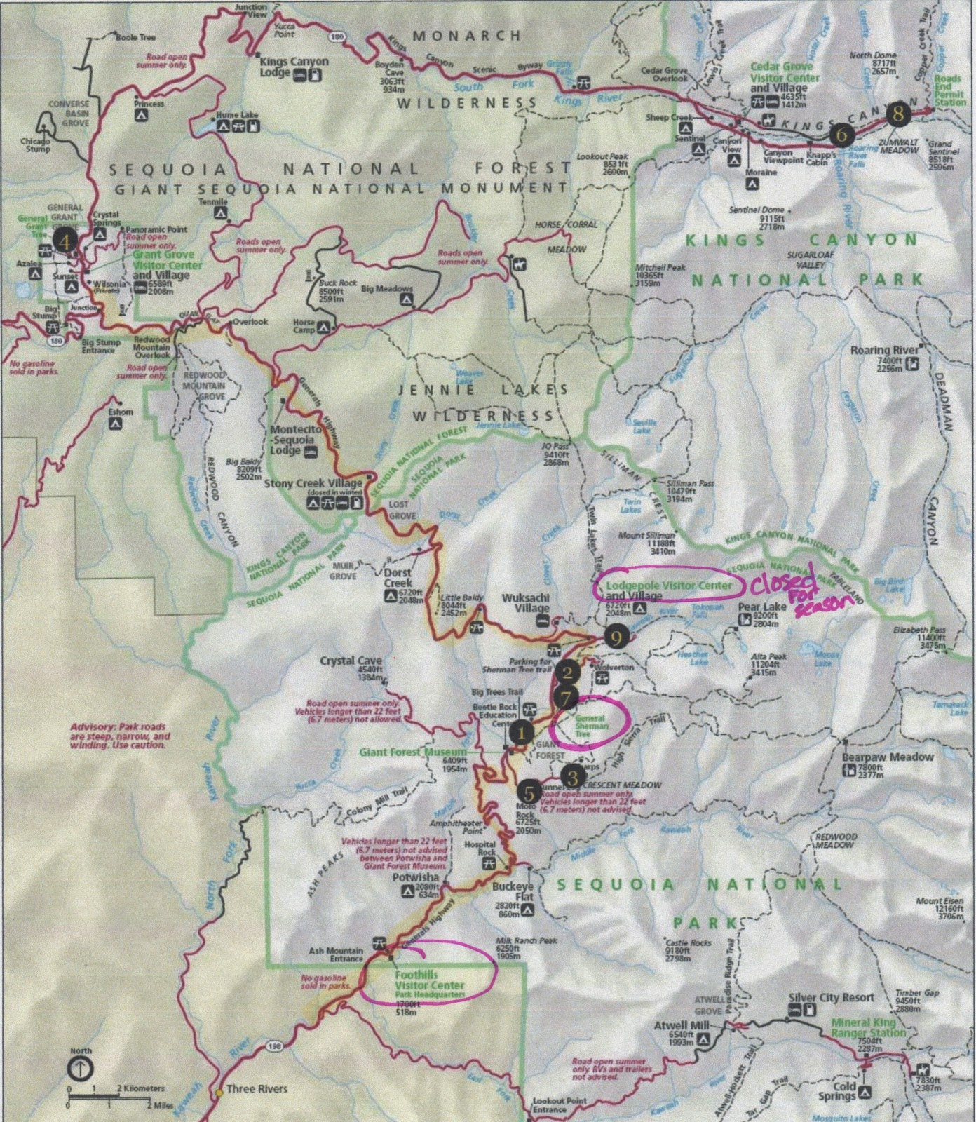 this is our map that was used to highlight the key stops in the park thelodgepole visitors center the general sherman tree and the foothillsvisitors . it's fun  me sequoia national park california