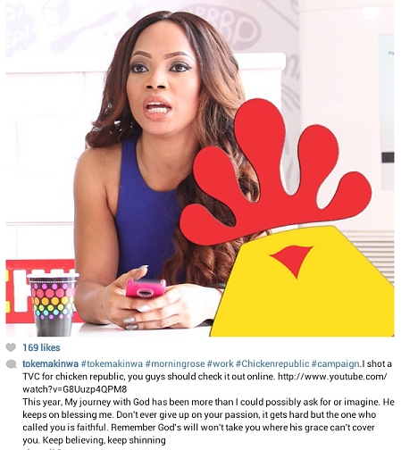 Toke Makinwa Shoots TV Commercial For Chicken Republic.