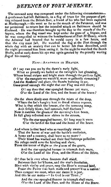 in defence of fort mchenry original print