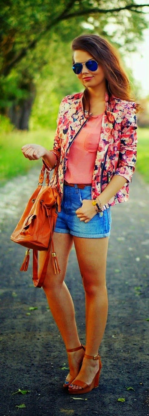 Denim Shorts Top Floral Blazer