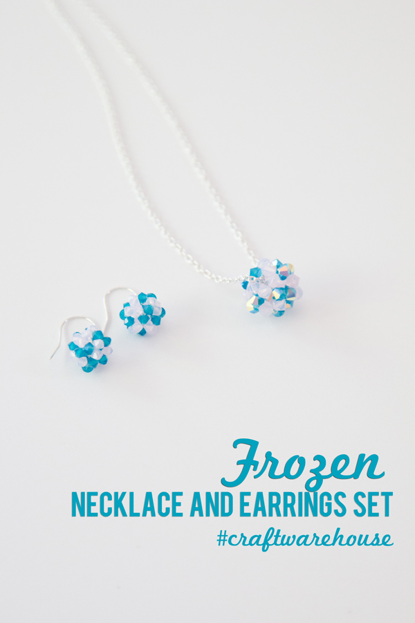 Frozen Crystal Necklace and Earring Set @craftsavvy #craftwarehouse #frozen #jewelry #diy #letitgo