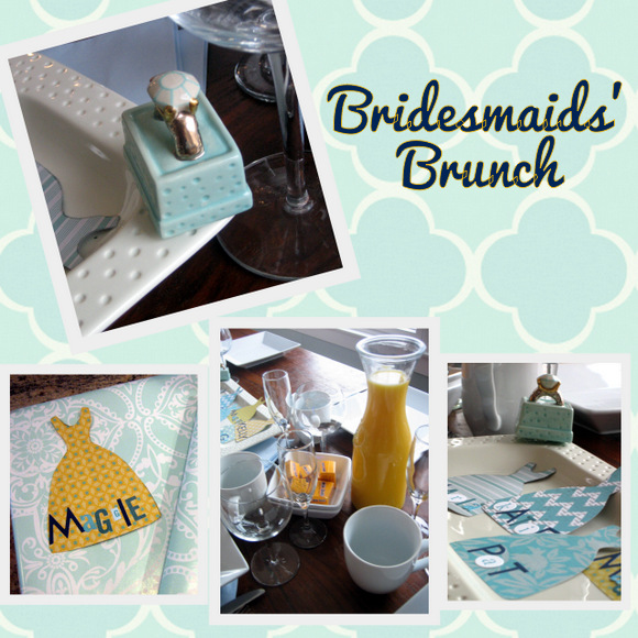 A bridesmaids brunch with cute dress name cards and wedding accents make for the perfect theme.