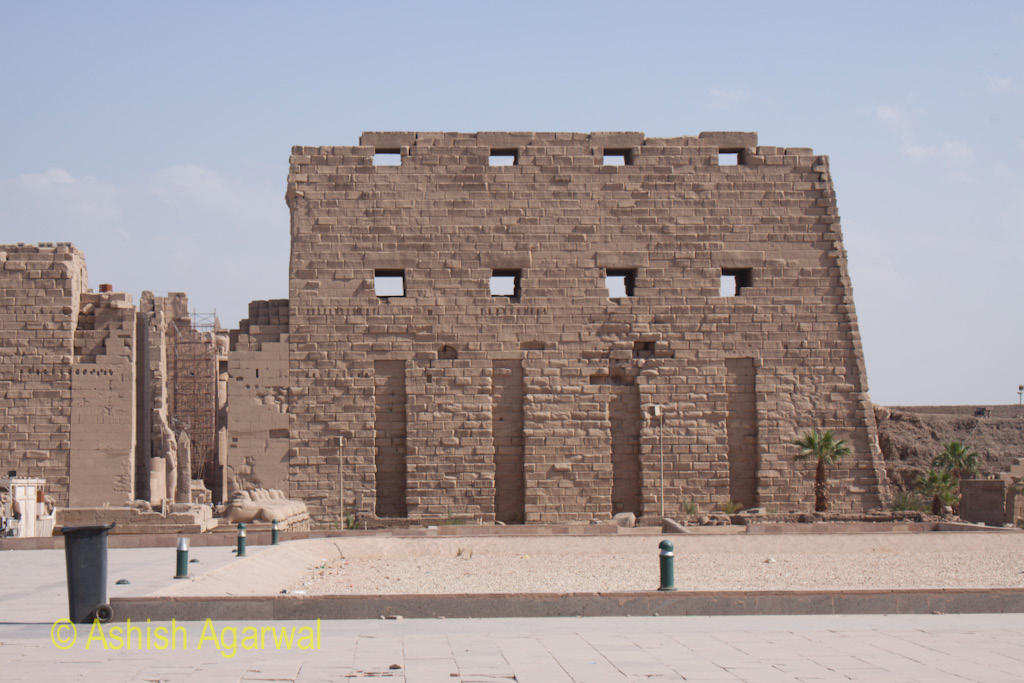 View of the front pylon of the Great Karnak temple at Luxor in Egypt