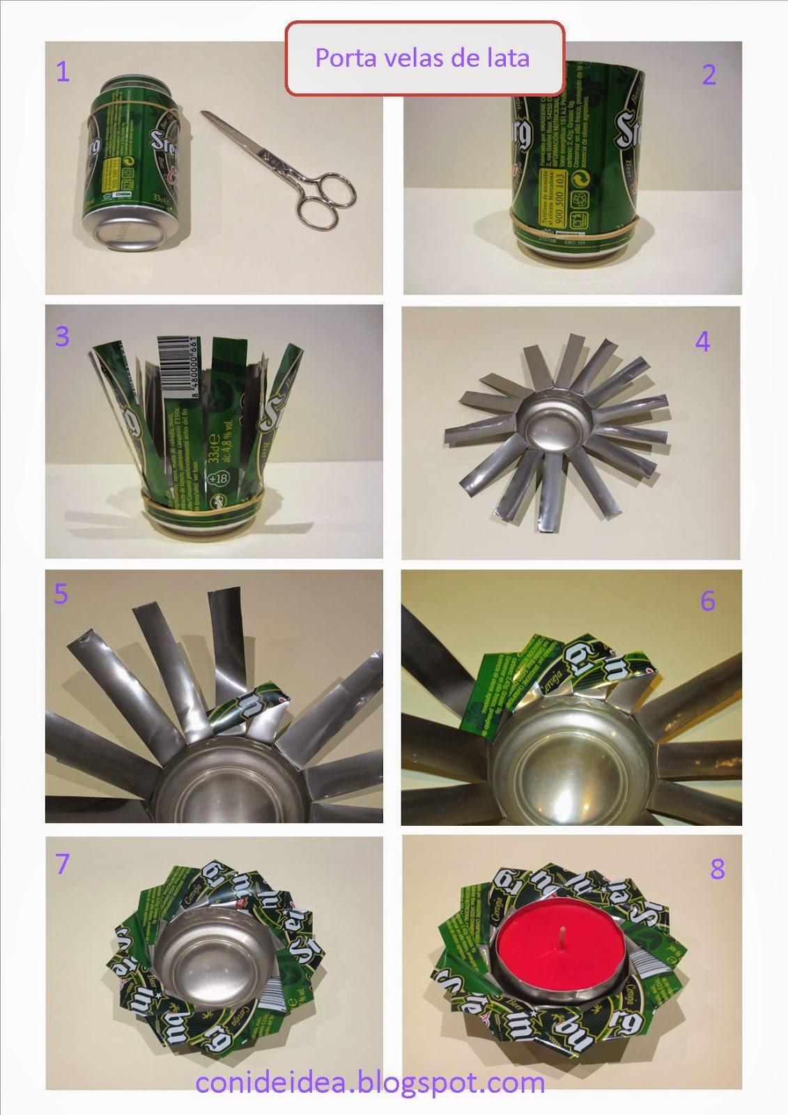 Manualidades con i de idea porta velas de lata reutilizada - Ceniceros originales ...
