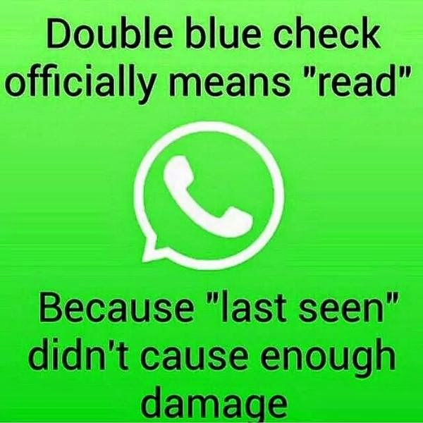 """double blue check officially means """"read"""". because """"last seen"""" didn't cause enough damage"""